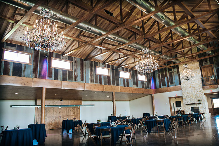inside look of Blaine Stone Lodge barn venue