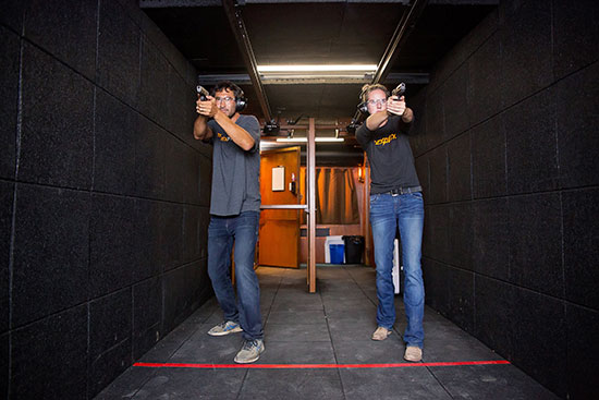 guests shooting at the indoor gun range at TexPlex Park
